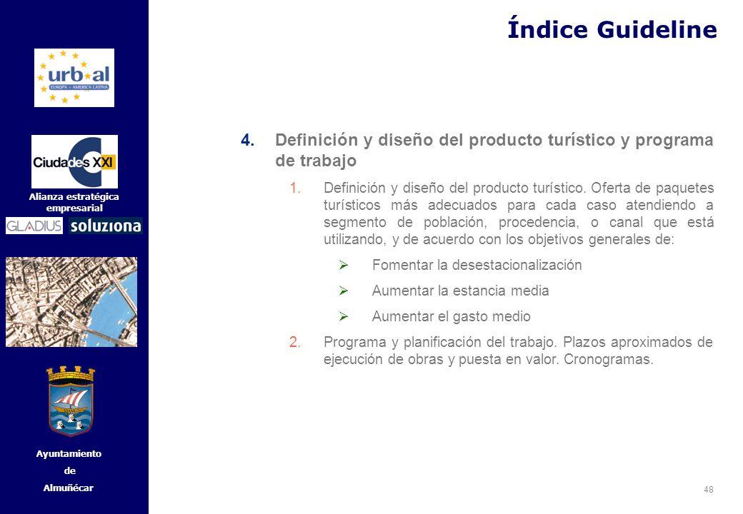 Índice Guideline Definición y diseño del producto turístico y programa de trabajo.