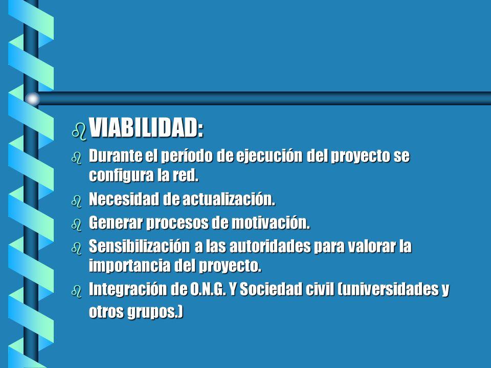 VIABILIDAD:Durante el período de ejecución del proyecto se configura la red. Necesidad de actualización.