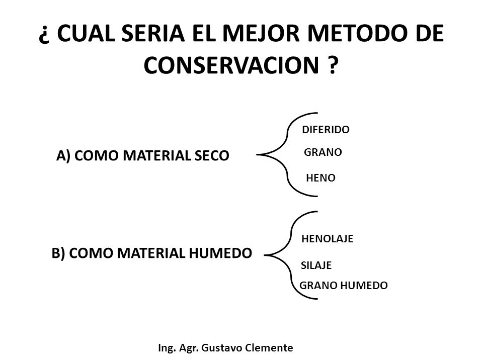 ¿ CUAL SERIA EL MEJOR METODO DE CONSERVACION