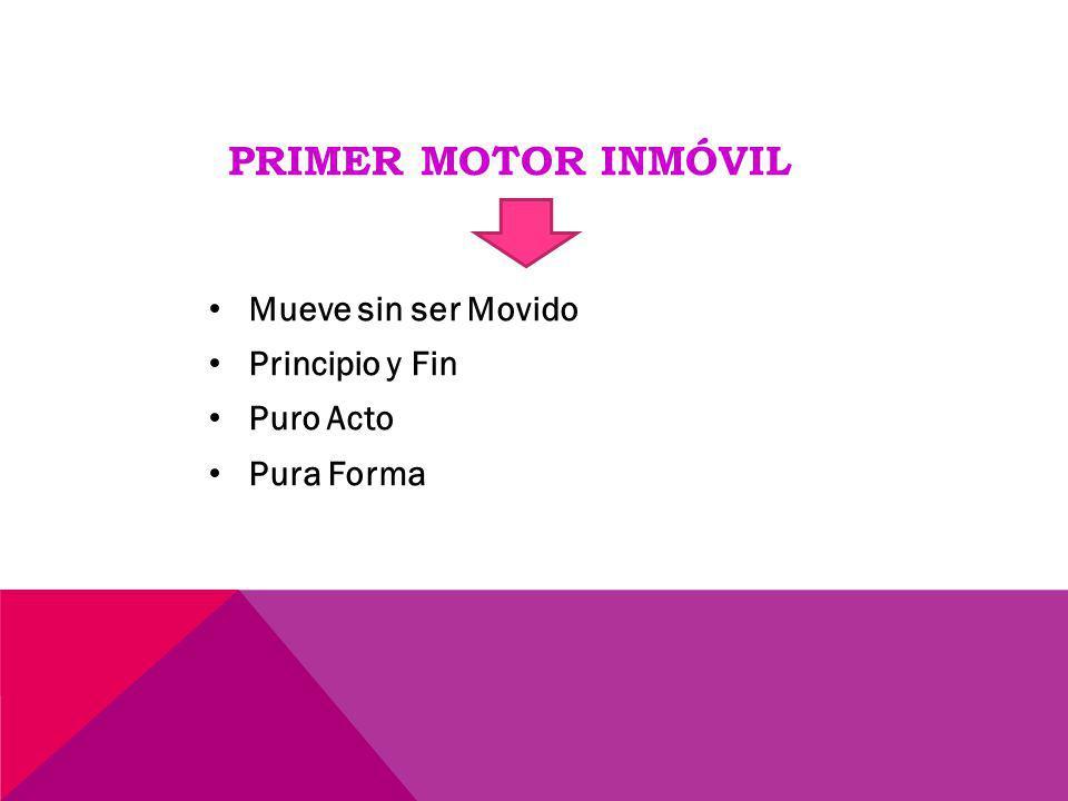 Primer Motor Inmóvil Mueve sin ser Movido Principio y Fin Puro Acto