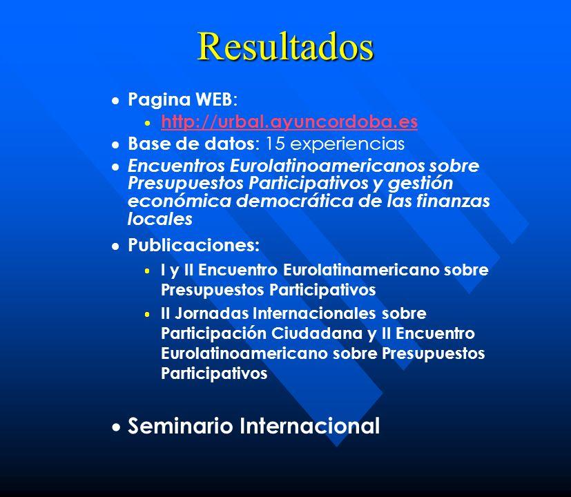 Resultados Seminario Internacional Pagina WEB: