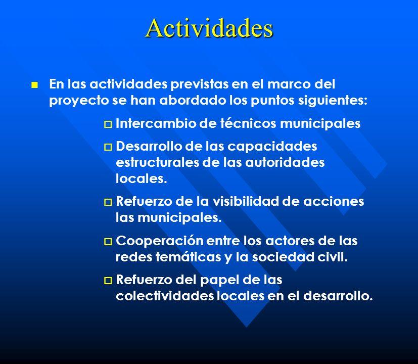 Actividades En las actividades previstas en el marco del proyecto se han abordado los puntos siguientes: