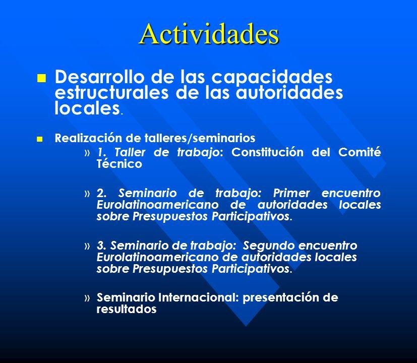 Actividades Desarrollo de las capacidades estructurales de las autoridades locales. Realización de talleres/seminarios.