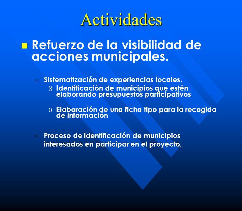 Actividades Refuerzo de la visibilidad de acciones municipales.