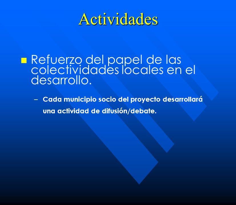 Actividades Refuerzo del papel de las colectividades locales en el desarrollo.