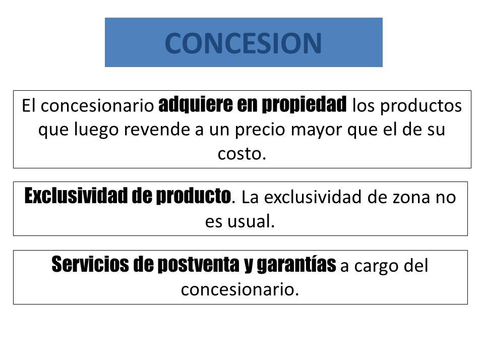 CONCESION El concesionario adquiere en propiedad los productos que luego revende a un precio mayor que el de su costo.
