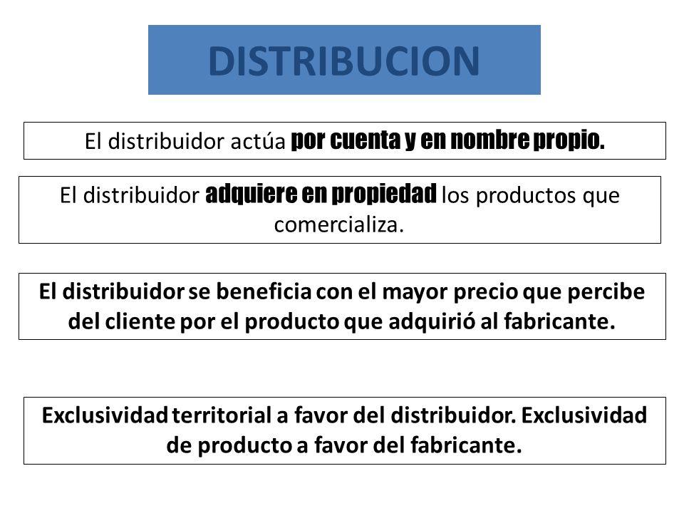 DISTRIBUCION El distribuidor actúa por cuenta y en nombre propio.
