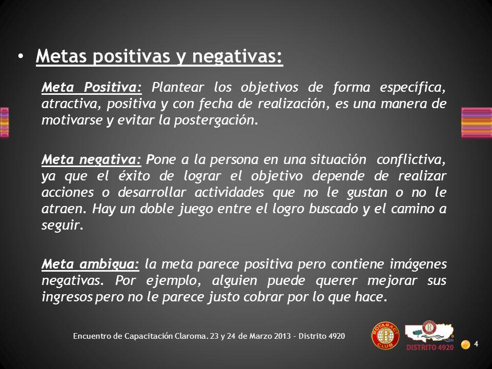 Metas positivas y negativas: