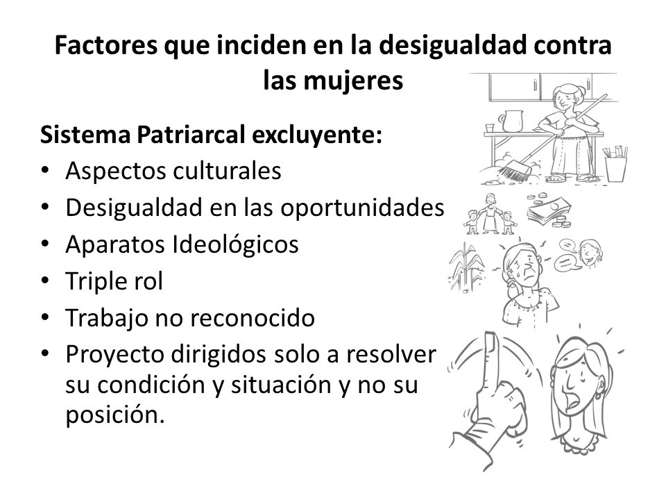 Factores que inciden en la desigualdad contra las mujeres