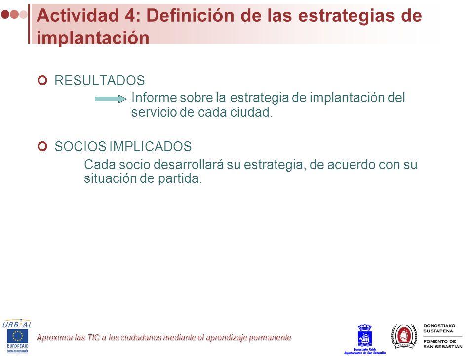 Actividad 4: Definición de las estrategias de implantación