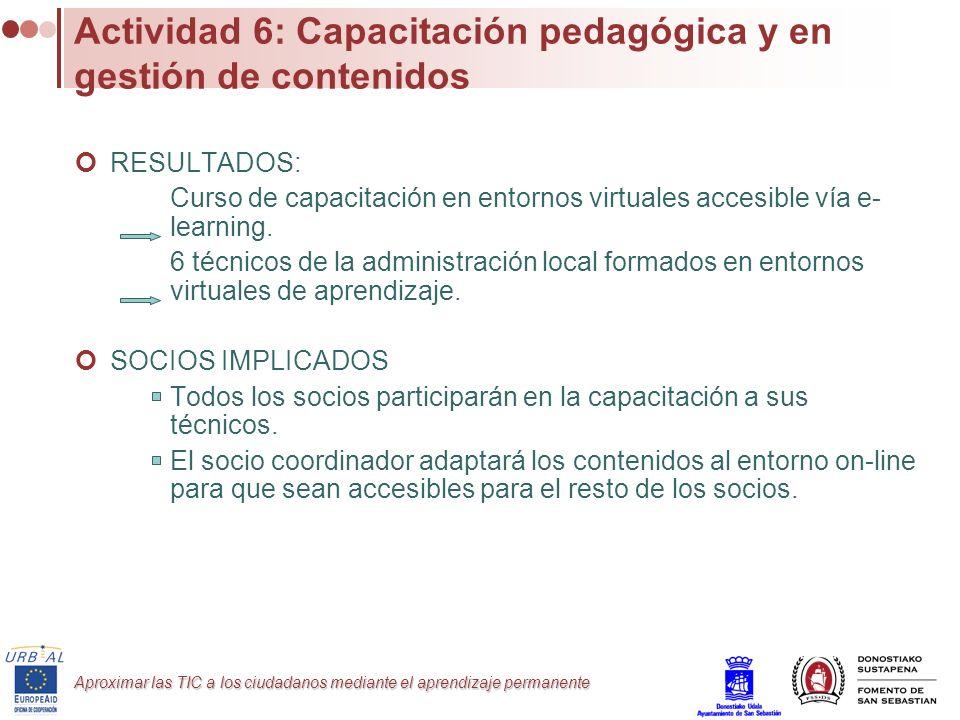 Actividad 6: Capacitación pedagógica y en gestión de contenidos