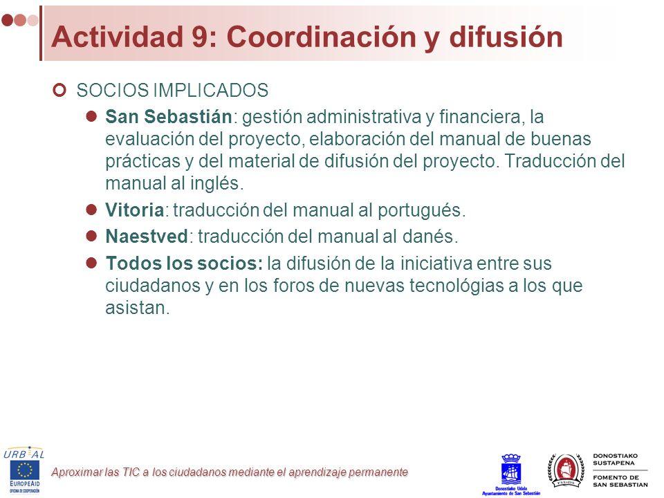 Actividad 9: Coordinación y difusión