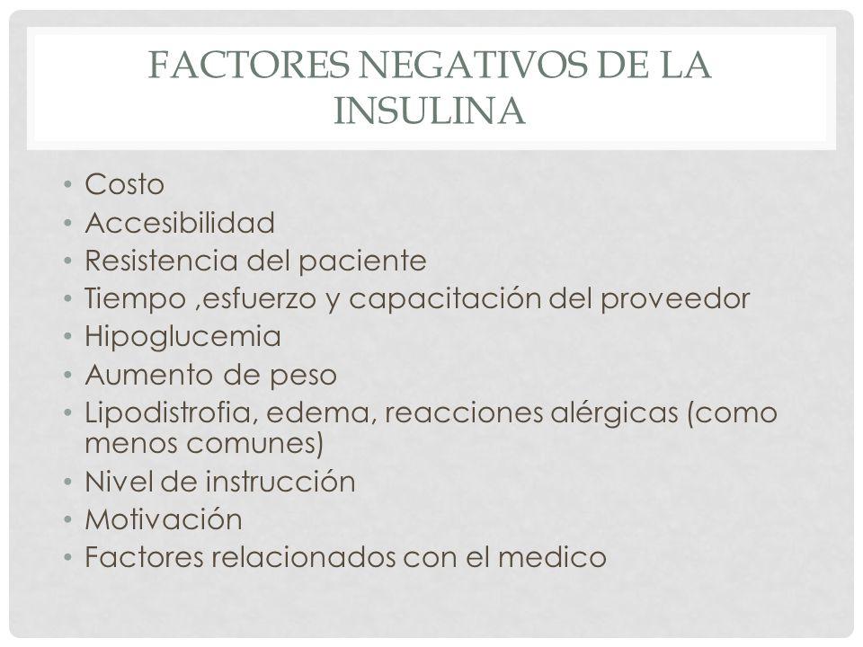 Factores negativos de la insulina