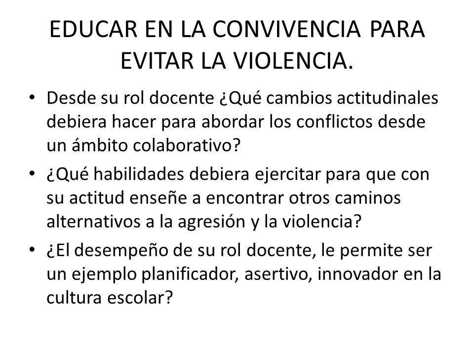 EDUCAR EN LA CONVIVENCIA PARA EVITAR LA VIOLENCIA.