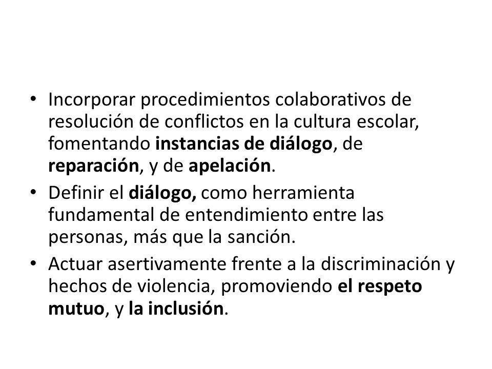 Incorporar procedimientos colaborativos de resolución de conflictos en la cultura escolar, fomentando instancias de diálogo, de reparación, y de apelación.