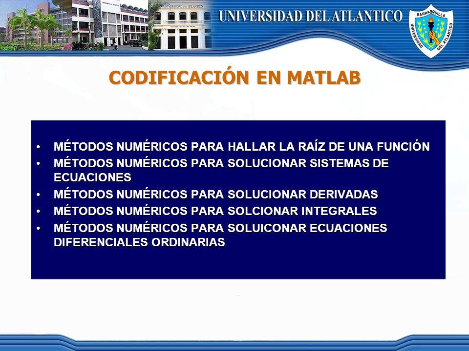 CODIFICACIÓN EN MATLAB