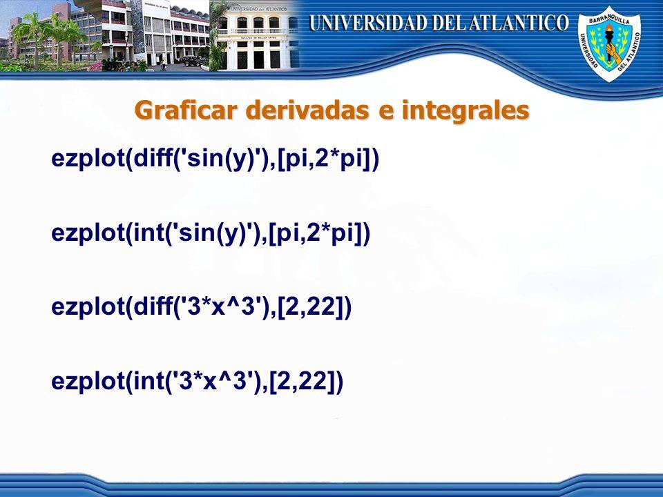 Graficar derivadas e integrales
