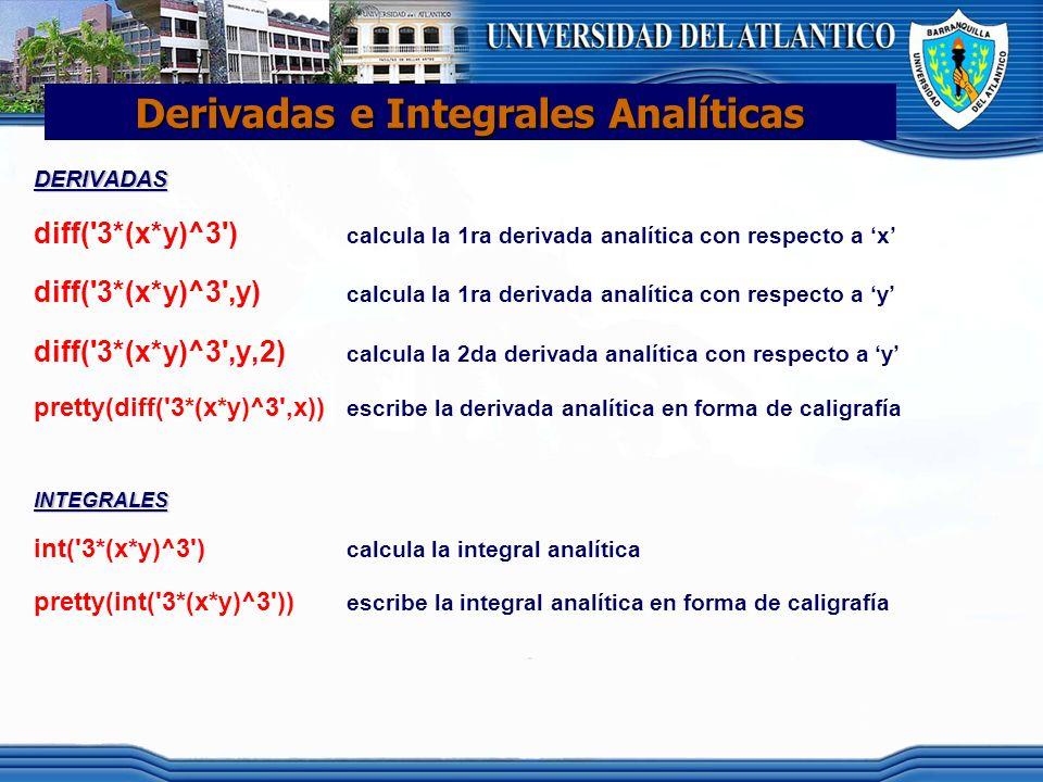 Derivadas e Integrales Analíticas