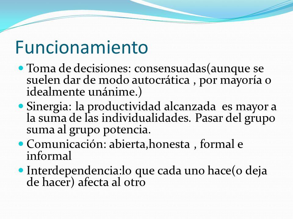 Funcionamiento Toma de decisiones: consensuadas(aunque se suelen dar de modo autocrática , por mayoría o idealmente unánime.)