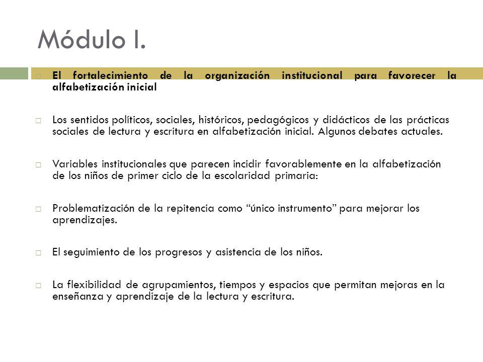 Módulo I. El fortalecimiento de la organización institucional para favorecer la alfabetización inicial.