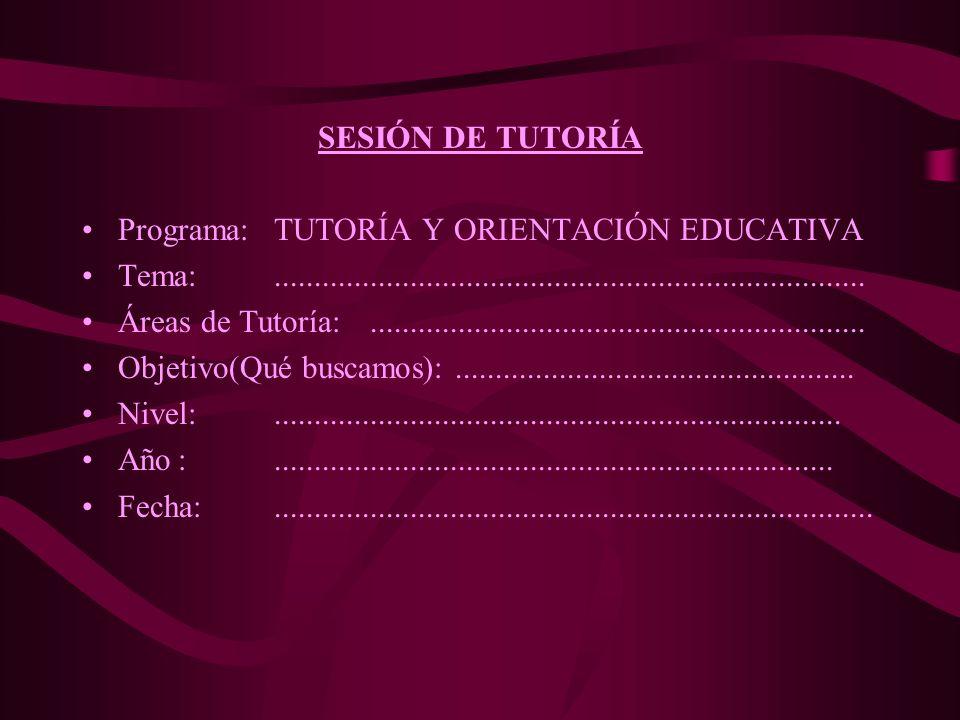 SESIÓN DE TUTORÍA Programa: TUTORÍA Y ORIENTACIÓN EDUCATIVA. Tema: ..........................................................................