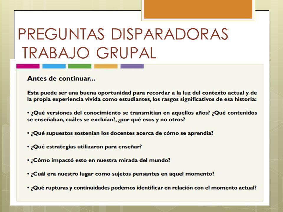 PREGUNTAS DISPARADORAS TRABAJO GRUPAL