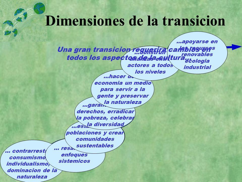 Dimensiones de la transicion