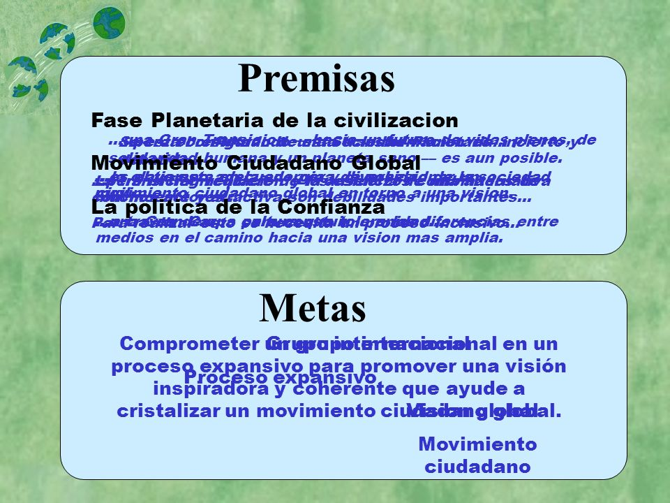 Premisas Metas Fase Planetaria de la civilizacion