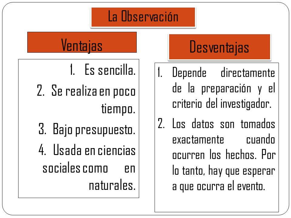 Ventajas Desventajas La Observación Es sencilla.