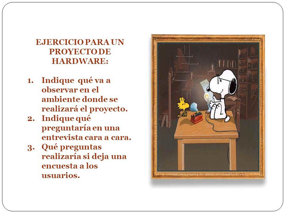 EJERCICIO PARA UN PROYECTO DE HARDWARE: