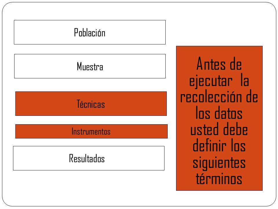 Población Antes de ejecutar la recolección de los datos usted debe definir los siguientes términos.
