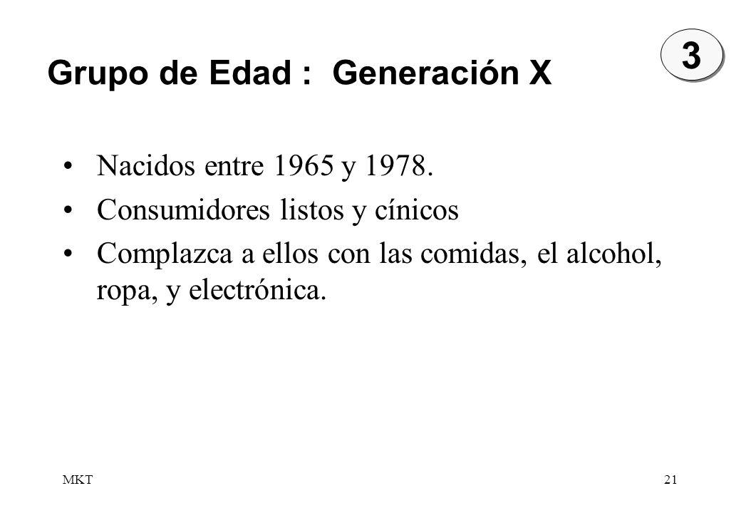 3 Grupo de Edad : Generación X Nacidos entre 1965 y 1978.