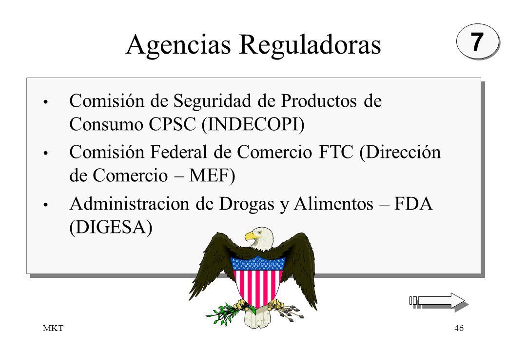 7Agencias Reguladoras. Comisión de Seguridad de Productos de Consumo CPSC (INDECOPI) Comisión Federal de Comercio FTC (Dirección de Comercio – MEF)