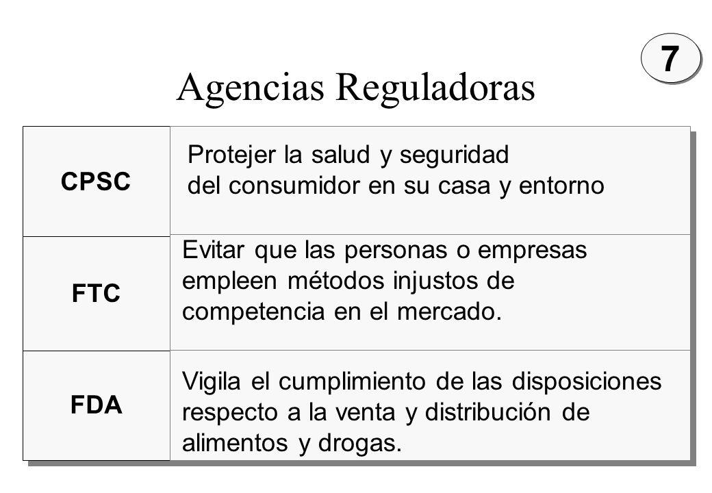 Agencias Reguladoras 7 Protejer la salud y seguridad CPSC