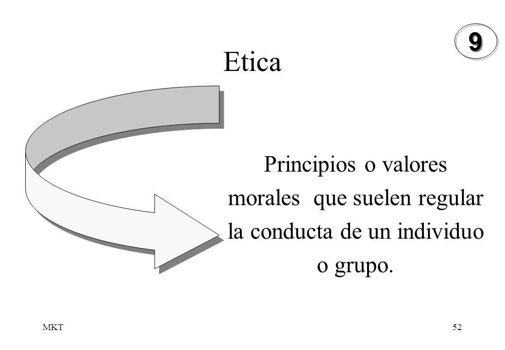 9 Etica Principios o valores morales que suelen regular la conducta de un individuo o grupo. MKT