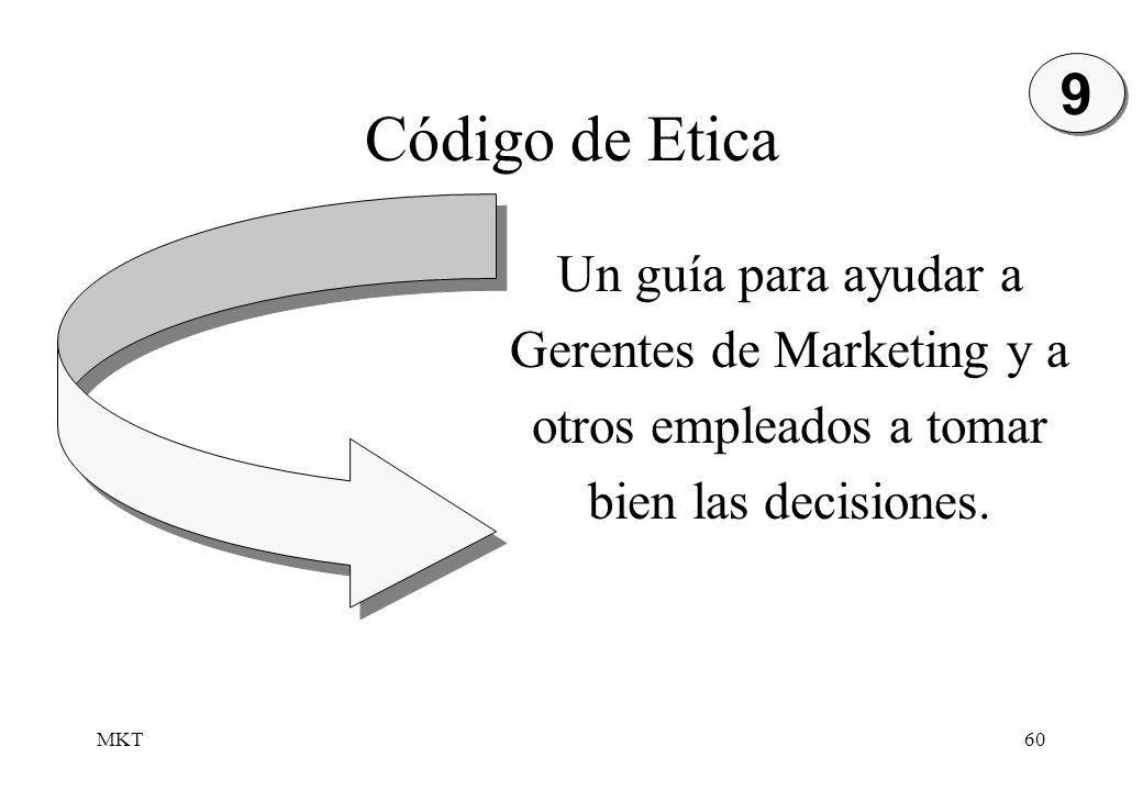 9 Código de Etica. Un guía para ayudar a Gerentes de Marketing y a otros empleados a tomar bien las decisiones.