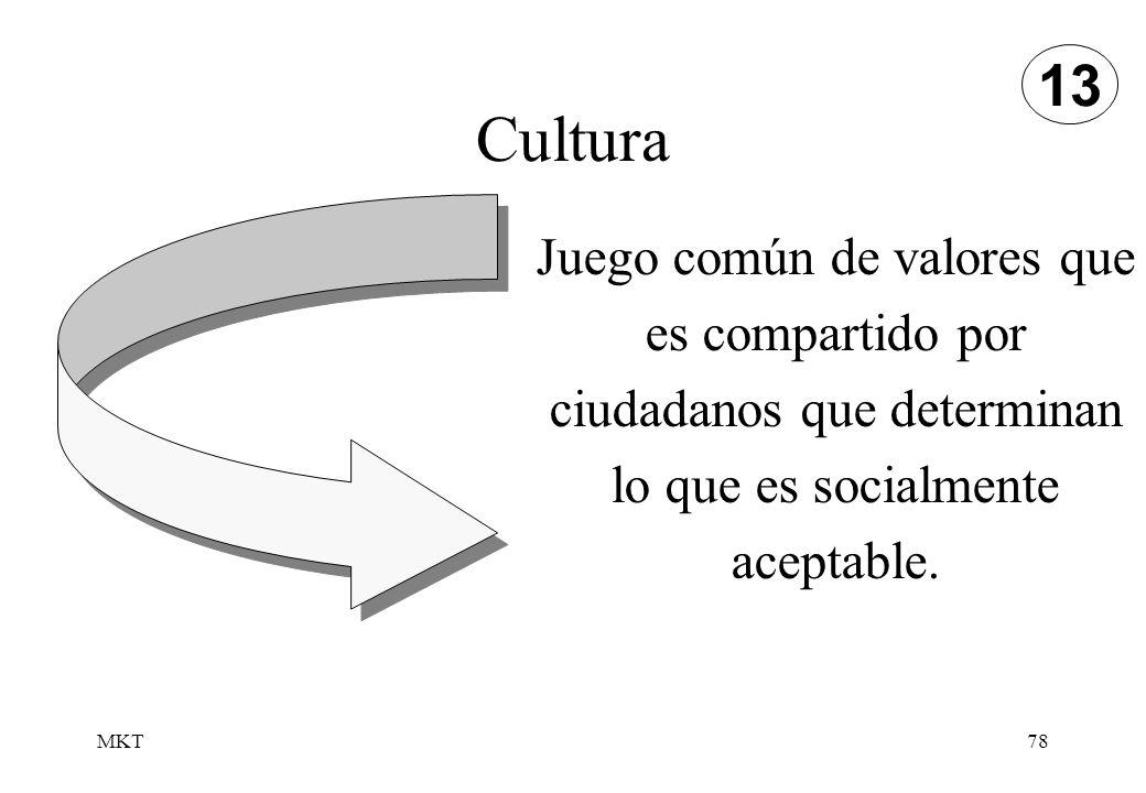 13 Cultura. Juego común de valores que es compartido por ciudadanos que determinan lo que es socialmente aceptable.