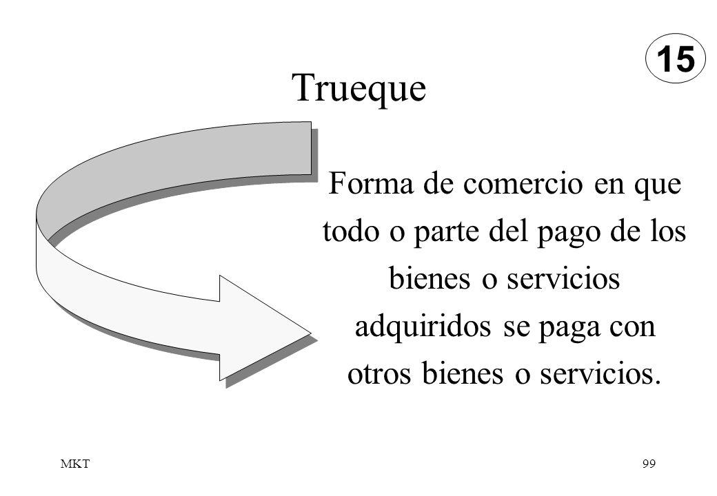 15 Trueque. Forma de comercio en que todo o parte del pago de los bienes o servicios adquiridos se paga con otros bienes o servicios.