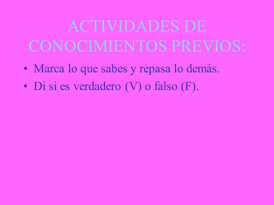 ACTIVIDADES DE CONOCIMIENTOS PREVIOS: