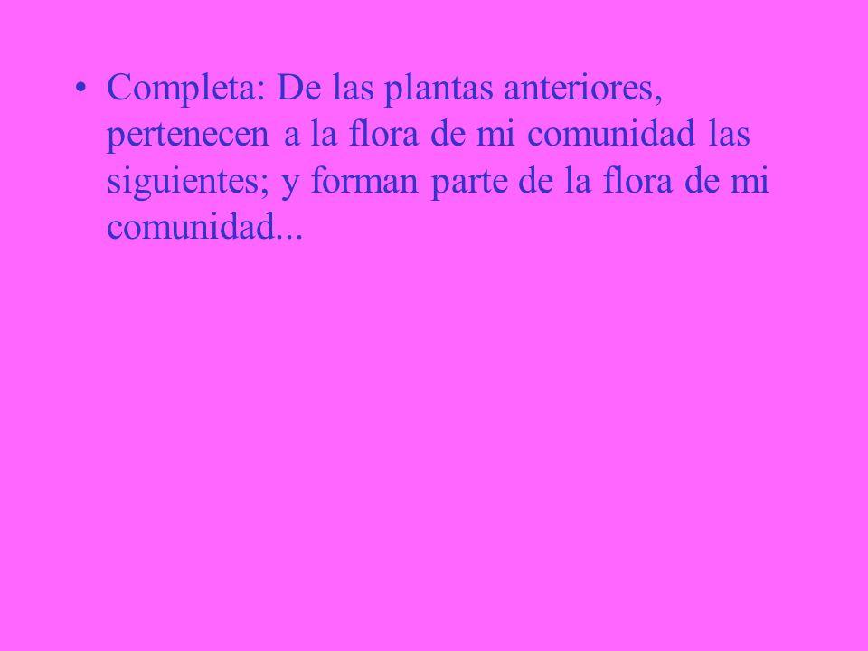 Completa: De las plantas anteriores, pertenecen a la flora de mi comunidad las siguientes; y forman parte de la flora de mi comunidad...