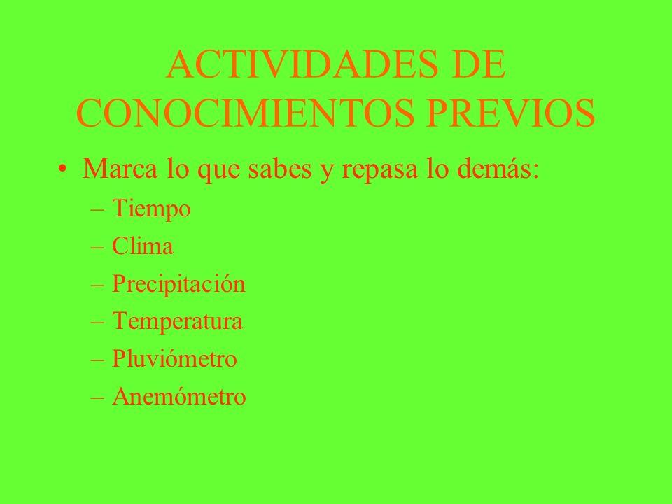 ACTIVIDADES DE CONOCIMIENTOS PREVIOS