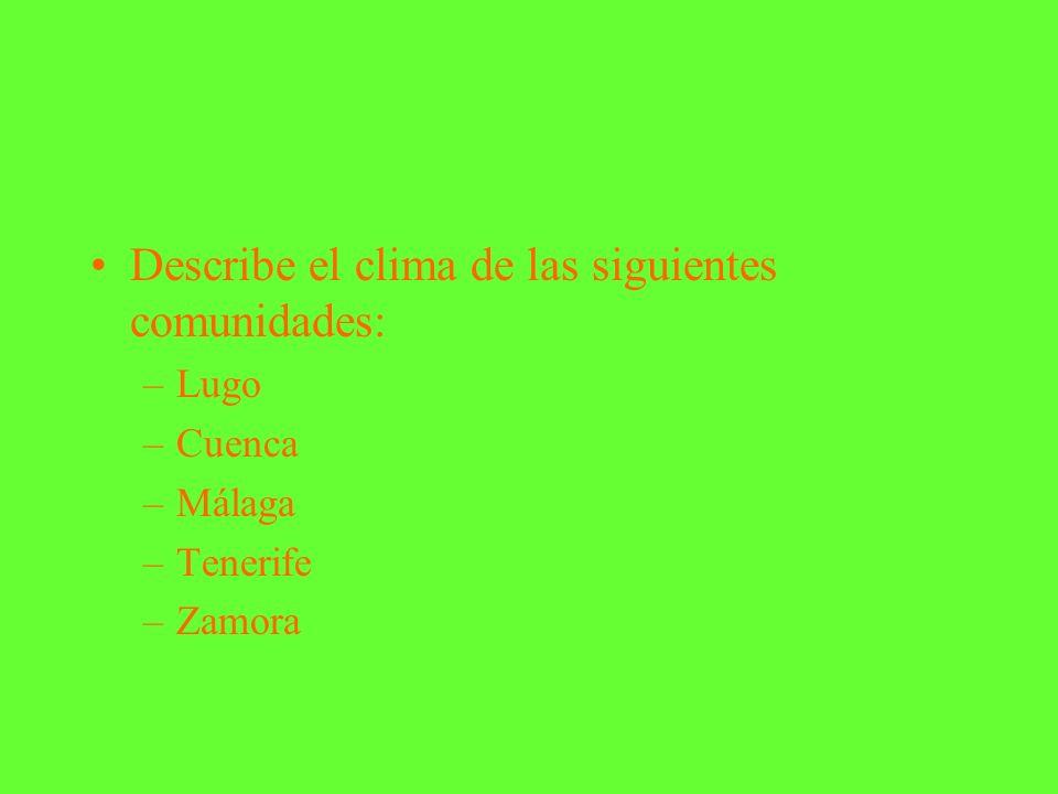 Describe el clima de las siguientes comunidades: