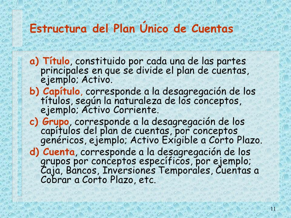 Estructura del Plan Único de Cuentas