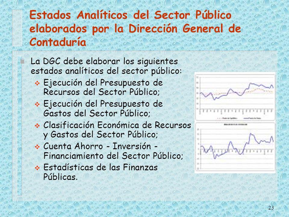 Estados Analíticos del Sector Público elaborados por la Dirección General de Contaduría