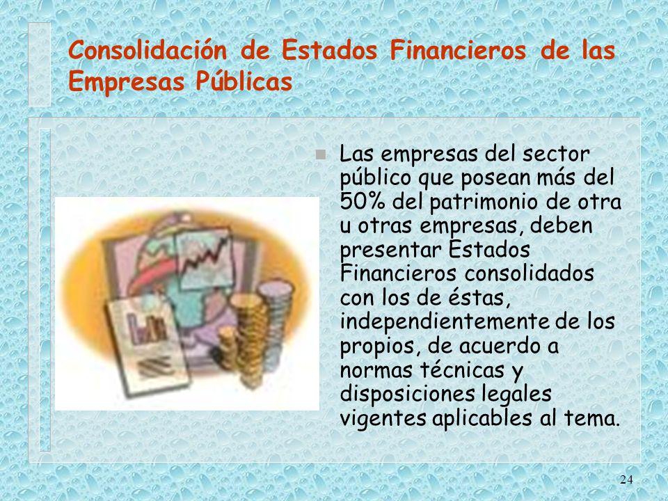 Consolidación de Estados Financieros de las Empresas Públicas