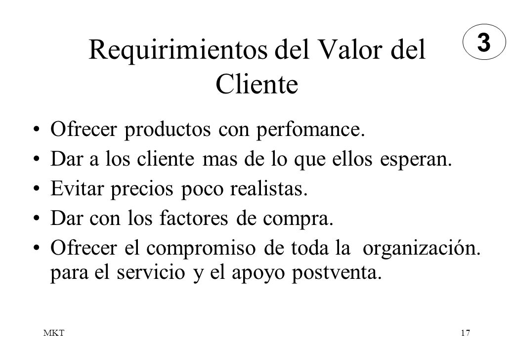 Requirimientos del Valor del Cliente