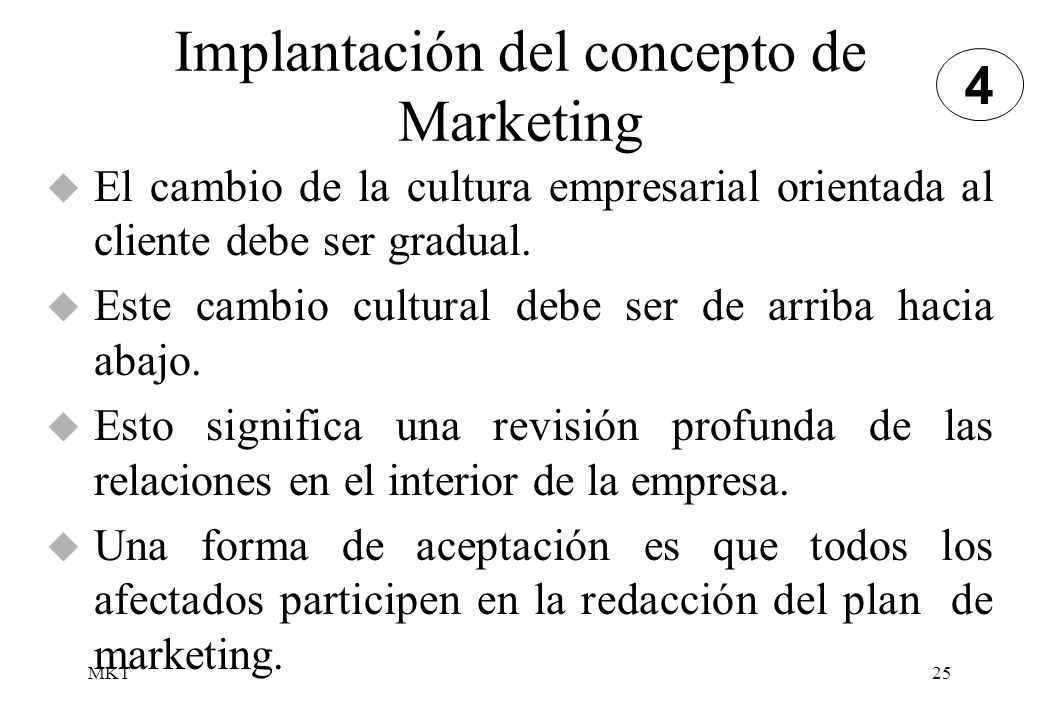 Implantación del concepto de Marketing