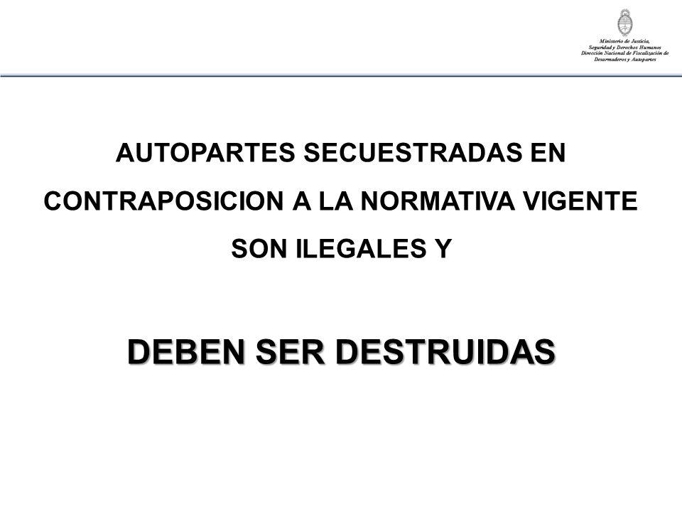 AUTOPARTES SECUESTRADAS EN CONTRAPOSICION A LA NORMATIVA VIGENTE