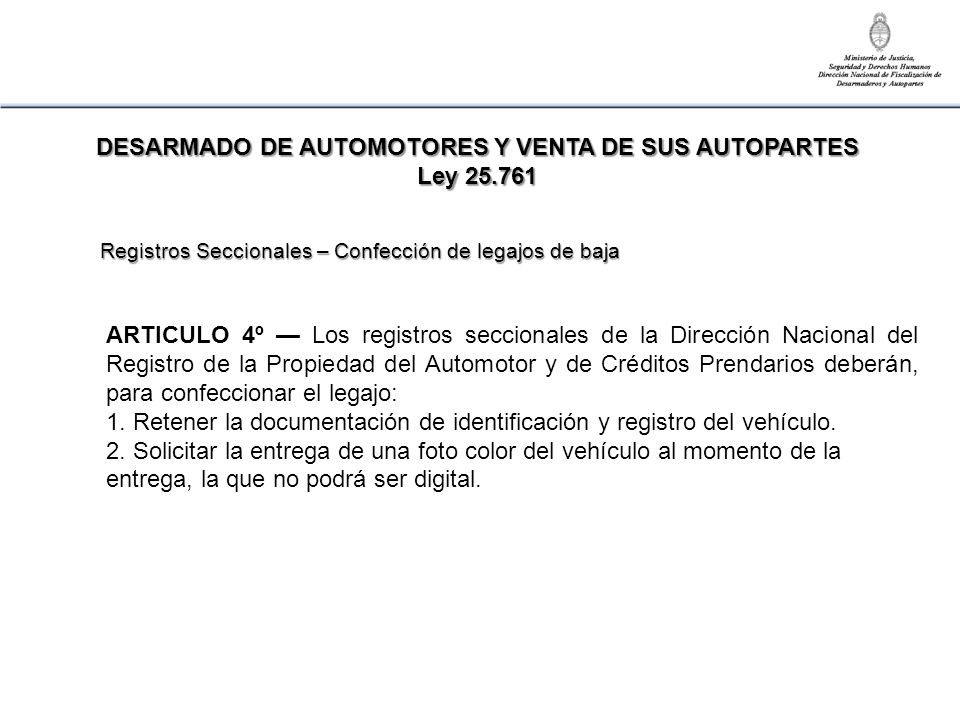 DESARMADO DE AUTOMOTORES Y VENTA DE SUS AUTOPARTES