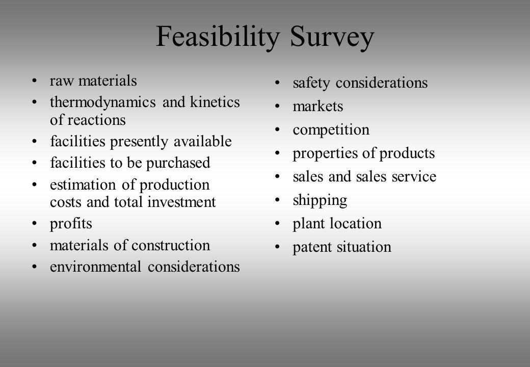 Feasibility Survey raw materials